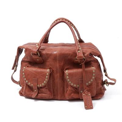Trask Saddle Brown Leather Studded Satchel