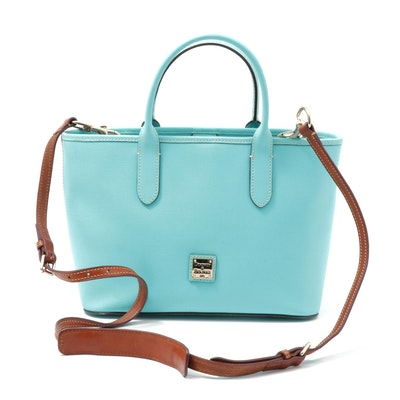 Dooney & Bourke Turquoise Blue Leather Tote with Brown Leather Crossbody Strap