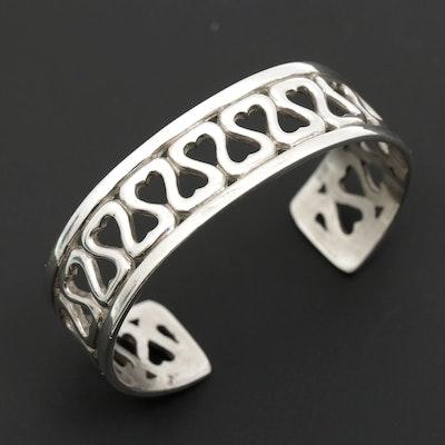 Sterling Silver Open Work Heart Cuff Bracelet