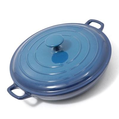 Technique Blue Enameled Cast Iron Casserole Dish with Lid