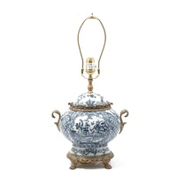 Castilian Bronze and Porcelain Chinoiserie Claw Foot Table Lamp