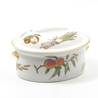 """Royal Worcester """"Evesham"""" Porcelain Oval Lidded Casserole Dish"""
