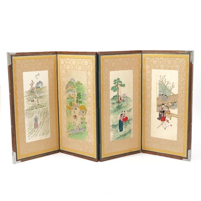Hand-Painted Embroidered Four-Panel Korean Silk Folding Screen