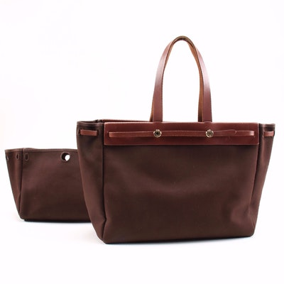 Hermès Herbag Cabas 2-in-1 Tote in Dark Brown Canvas and Vache Calfskin Leather