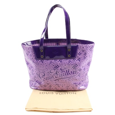 Louis Vuitton Limited Edition Cosmic Blossom Tote in Violet Shiny Leather