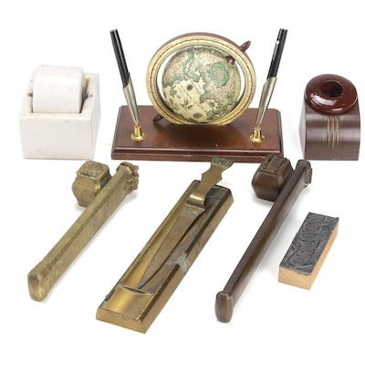 Desk Accessories Including Two Qalamdan Divit Quill and Ink Holders