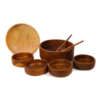 "Fred Anderson ""Blue Sky"" Box Elder Bowl and Wooden Salad Bowl Set"
