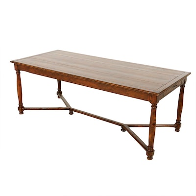 Provincial Style Walnut-Stained Two-Drawer Dining Table, Contemporary