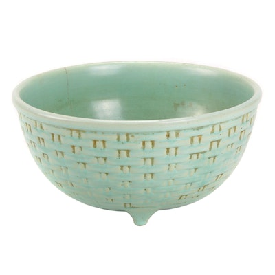 "Weller Pottery ""Pierre"" Basket Weave Footed Bowl, Mid-20th Century"