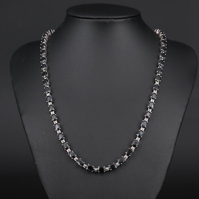 Sterling Silver Sapphire Necklace with Extension