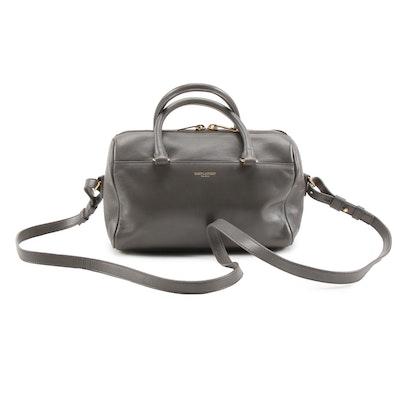 Saint Laurent Paris Classic Baby Duffle Convertible Bag in Grey Leather