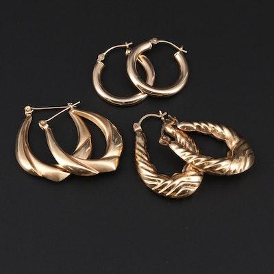 14K Yellow Gold Hoop Earrings Sets