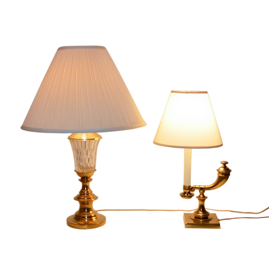 Brass Student Desk Lamp and Other Brass Crystal Table Lamp