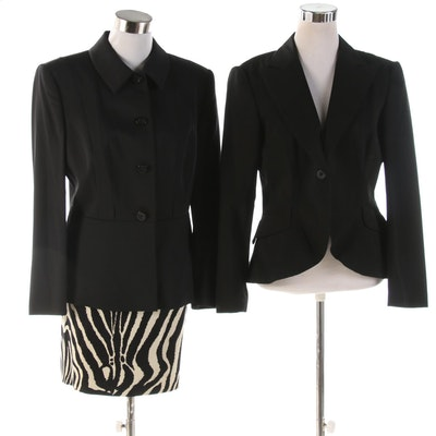 Laurèl and Carriere Studio Black Jackets and Zebra Print Skirt