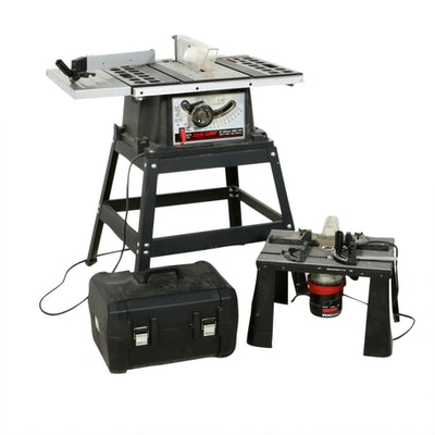 "Skilsaw 10"" Table Saw, Craftsman Porter-Cable Hand Saw and Router"
