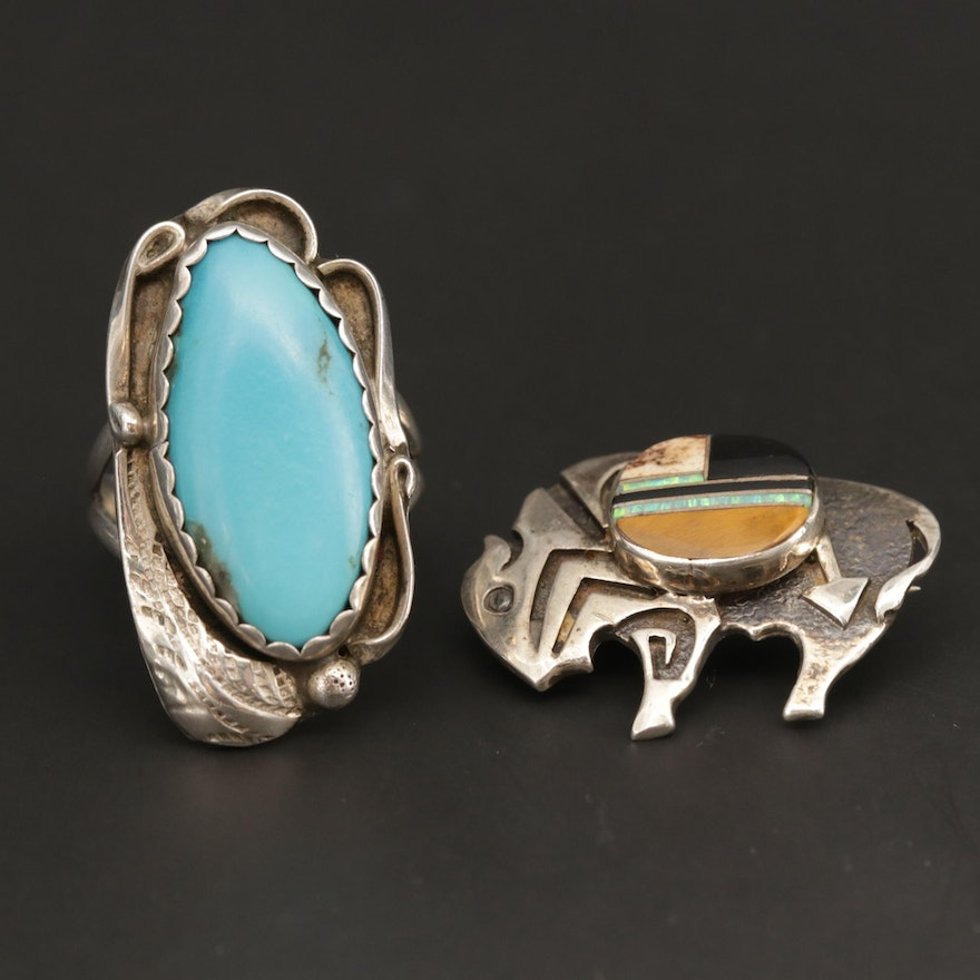 Southwestern Sterling Turquoise, Tiger's Eye and Opal Ring and Buffalo Brooch