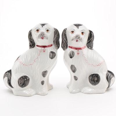 Pair of  Portuguese Ceramic Staffordshire Spaniels