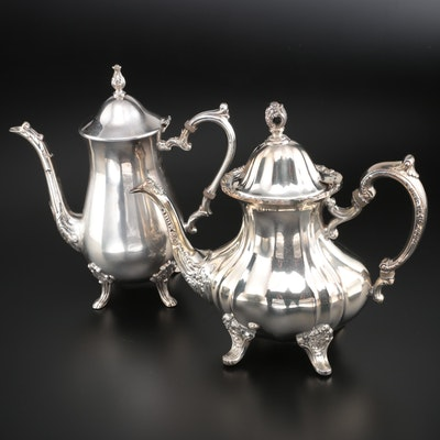 """Towle """"Grand Duchess"""" Silver Plate Teapot with Silver Plate Coffee Pot"""