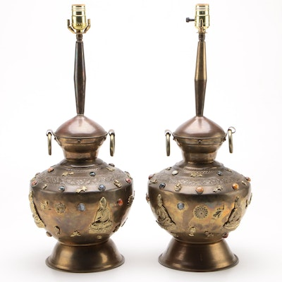 Pair of Converted Hardstone Inset Brass Buddhist Funerary Urn Table Lamps