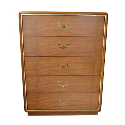 Dixie Furniture Co., Mid Century Modern Brass-Trimmed Oak Chest of Drawers