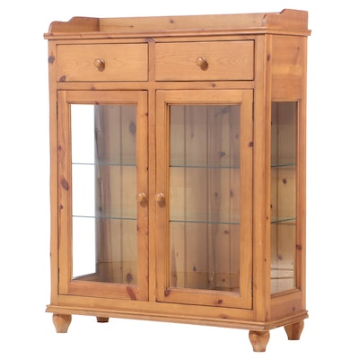 Illuminated Pine Glass Front Display Cabinet, Late 20th Century