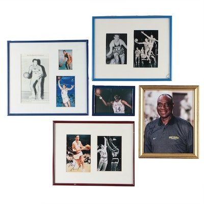Heinsohn, McGuire, Russell, Bradley and Schayes Framed Signed Pictures