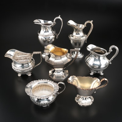 Silver Plate Creamers Including Mappin & Webb, Reed & Barton, and Poole