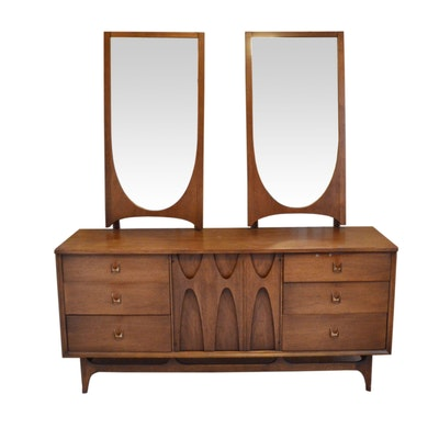 "Broyhill Premier, Mid Century Modern ""Brasilia"" Walnut Dresser with Arch Mirrors"