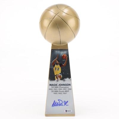 "Magic Johnson Signed ""5X NBA Champion"" Replica Basketball Trophy, Beckett COA"