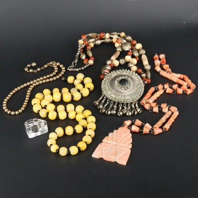 Carnelian, Calcite and Bone Beaded Necklaces and Ring Assortment