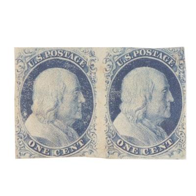 United States 1851 Franklin 1c Stamp Pair, Scott #7