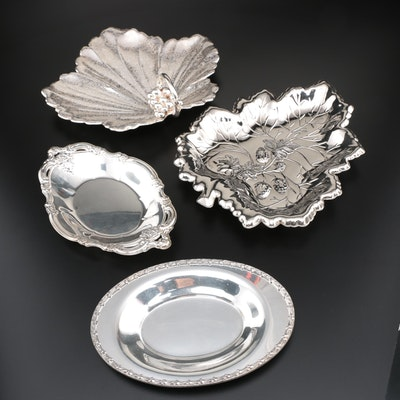 Wallace Bros. Silver Plate Grape Leaf Tray and Other Silver Plate Trays