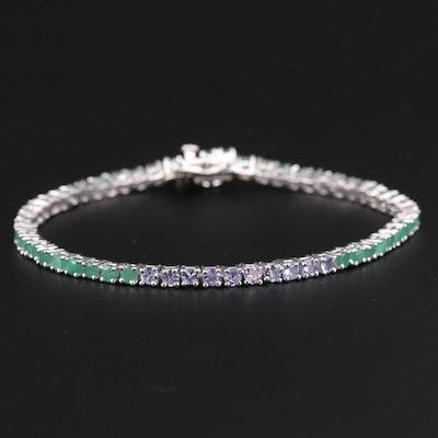 Sterling Sterling Emerald and Tanzanite Link Bracelet