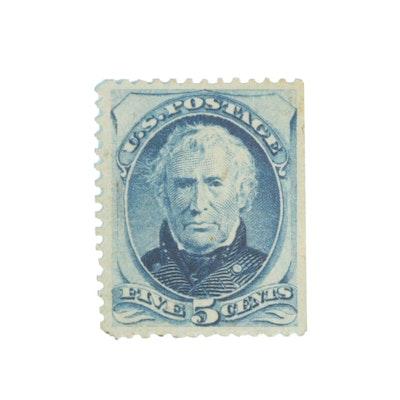United States Zachary Taylor 5c Blue Postage Stamp, Scott #185