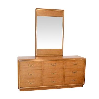 Dixie Furniture Co., Mid Century Modern Brass-Trimmed Oak Dresser