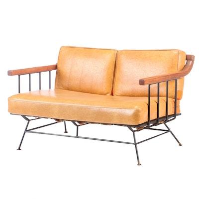 Mid Century Modern Walnut Vinyl Upholstered Love Seat, Mid-20th Century