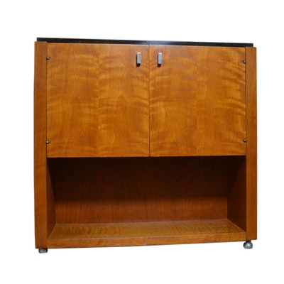 Maple and Black Marble Rolling Console Cabinet, 20th Century