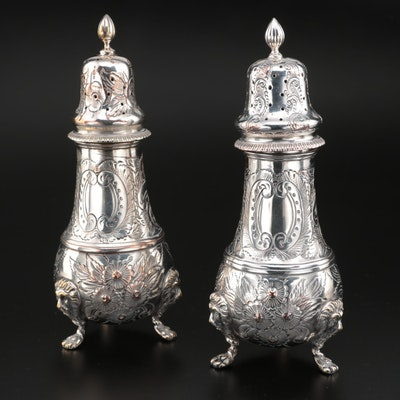 English Chased Silver Plate Footed Shakers
