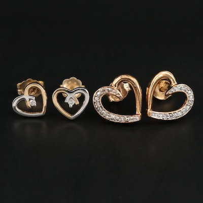 14K and 10K Yellow Gold and Diamond Heart Earrings
