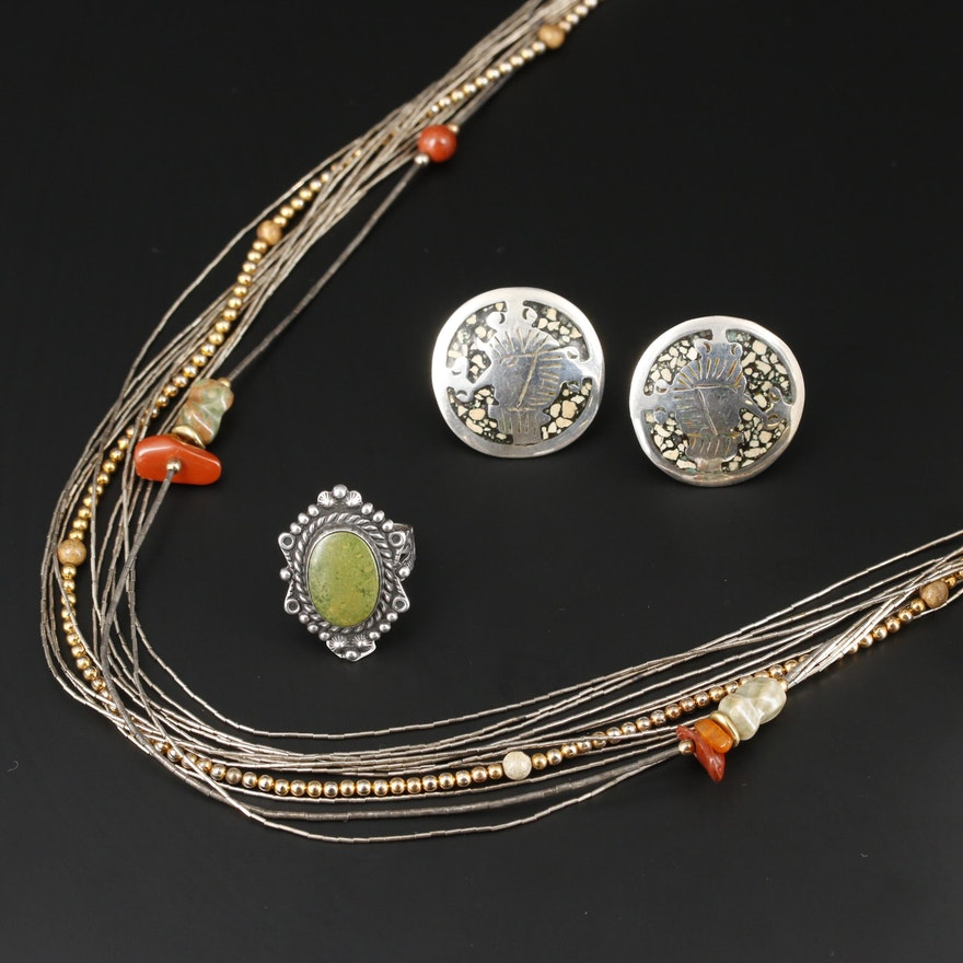 Southwestern Style Mexican Sterling Silver Necklace, Ring and Earrings