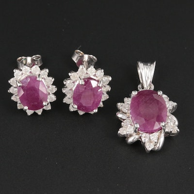 14K White Gold Ruby and Diamond Earring and Pendant Set