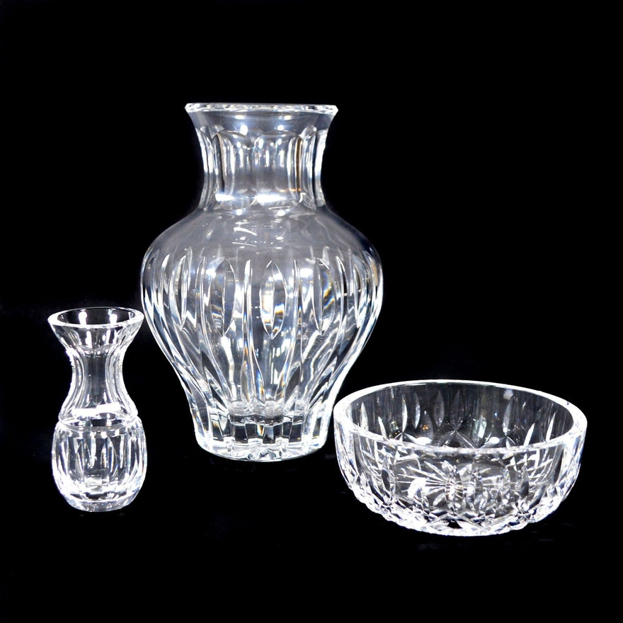 Waterford Crystal Vase, Bowl and Bud Vase