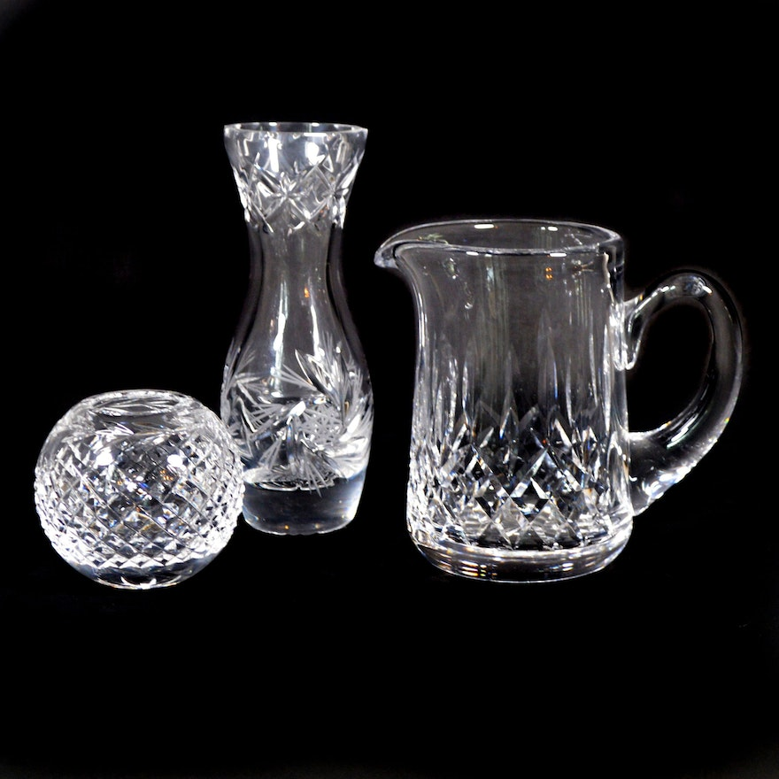 """Waterford """"Glandore"""" Crystal Rose Bowl, """"Lismore"""" Pitcher and Other Flower Vase"""