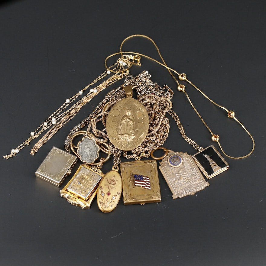 Vintage Assorted Locket and Pendant Necklaces Including Dauplaise and Monet