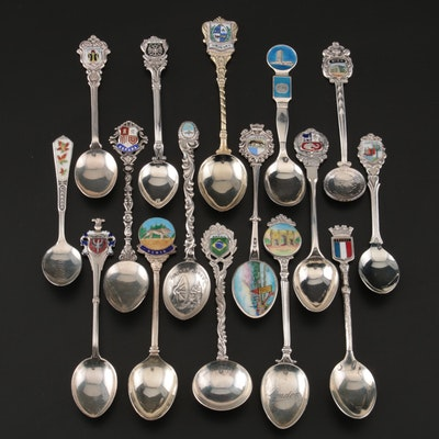 800, 900, and Sterling Silver Travel Souvenir Spoons with Enamel Accents