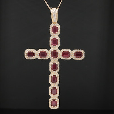 14K Yellow Gold Ruby and Diamond Cross Pendant Necklace