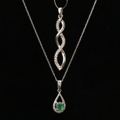 10K White Gold Emerald and Diamond Necklace and Diamond Pendant