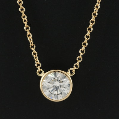 18K Yellow Gold 0.72 CT Diamond Solitaire Necklace