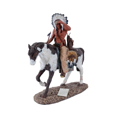 Daniel R. Monfort Sculpture of Native American on Horseback