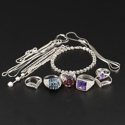 Assortment of Sterling Silver, Cubic Zirconia and Rhinestone Jewelry